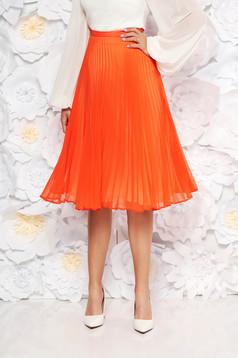 Narancs StarShinerS elegáns harang szoknya rakott fátyol anyag magas derekú