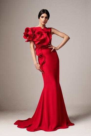 Piros Ana Radu alkalmi hosszú szirén tipusú ruha szűk szabással