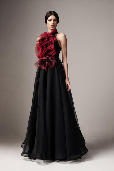 Fekete Ana Radu alkalmi ujjatlan fodros harang ruha