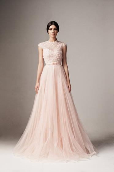 2cf3800dc4 Világos rózsaszín Ana Radu alkalmi tüll harang ruha virágos díszek övvel  ellátva