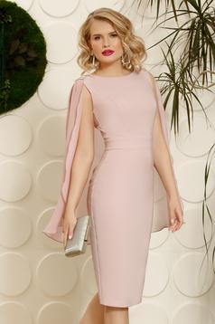 Rózsaszínű PrettyGirl alkalmi ceruza ruha ujjatlan strassz köves díszítés