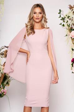 Rózsaszínű alkalmi ujjatlan ceruza ruha strassz köves díszítéssel