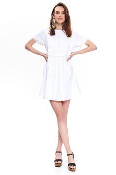 Fehér Top Secret hétköznapi bő szabású ruha vékony anyag hátul kivágott