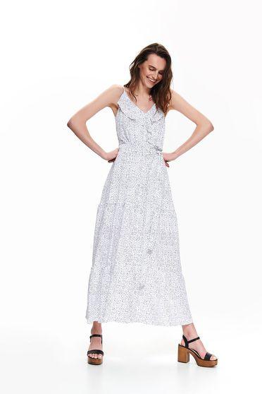 Fehér ruha casual pöttyös pántos övvel ellátva
