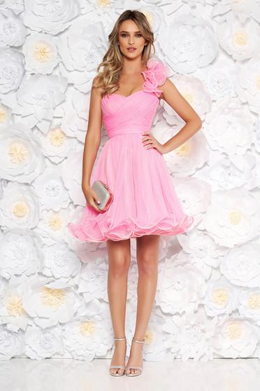 d1b0275f07 Pink Ana Radu alkalmi fűzős tüll harang ruha szivacsos mellrész övvel  ellátva