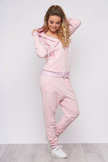 Púder rózsaszínű casual két részes szett enyhén elasztikus pamutból