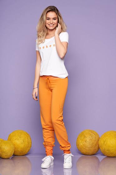 Mustársárga két részes casual női kosztüm nadrággal rugalmas pamutból