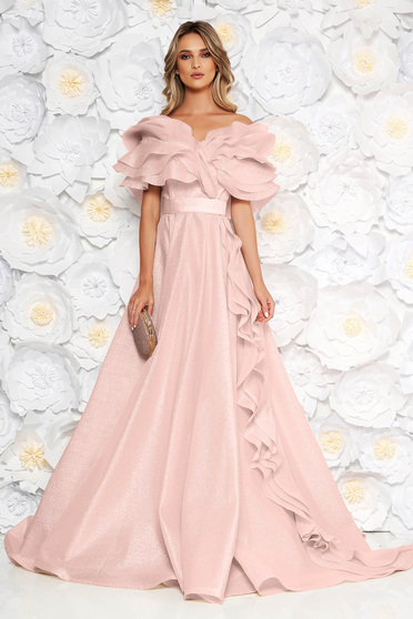 Világos rózsaszín Ana Radu alkalmi fodros harang ruha övvel ellátva