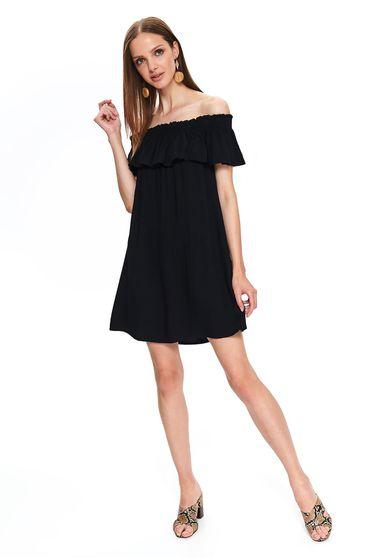 Fekete Top Secret hétköznapi bő szabású váll nélküli ruha lenge anyagból fodrok a dekoltázs vonalánál