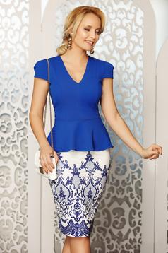 Kék Fofy elegáns női blúz v-dekoltázzsal szűk szabás derekán fodorral