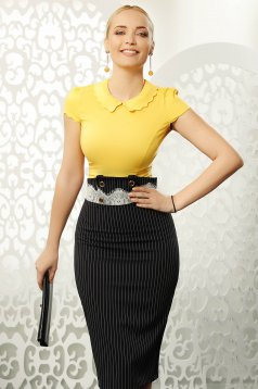 Mustar Fofy elegáns szűk szabású női ing rugalmas pamut rövid ujjú