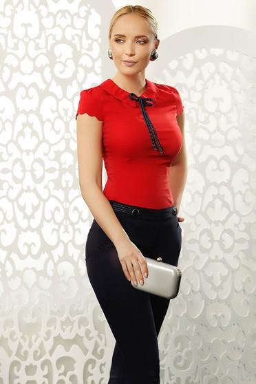 Piros Fofy elegáns szűk szabású női ing rugalmas pamut rövid ujjú