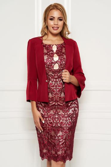 b75714c369 Burgundy elegáns két részes női kosztüm csipkés anyagból