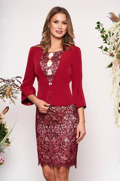 Burgundy elegáns két részes női kosztüm csipkés anyagból