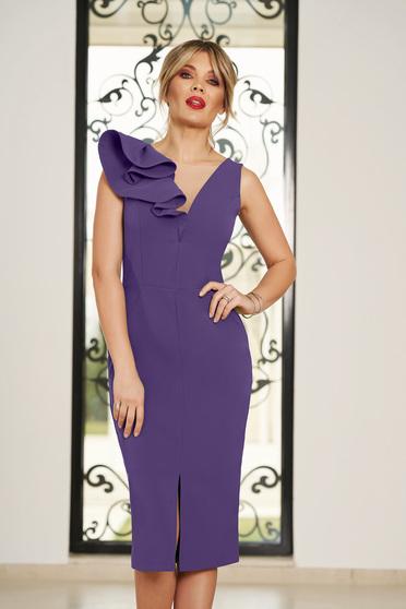 Lila StarShinerS alkalmi ruha v-dekoltázzsal szűk szabás enyhén elasztikus szövet fodros