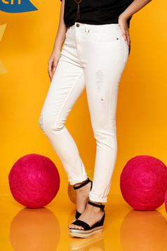 Fehér Top Secret casual nadrág magas derekú enyhén elasztikus pamutból