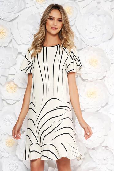 Ivory elegáns hétköznapi ruha egyenes szabással fodrok a ruha alján