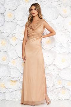 b92c86ac33 Arany alkalmi ruha szűk szabás áttetsző anyag csillogó díszítésekkel belső  béléssel