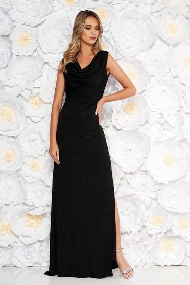 Fekete alkalmi ruha szűk szabás áttetsző anyag csillogó díszítések belső béléssel