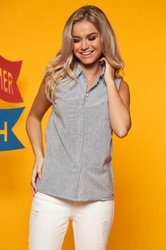 Kék Top Secret casual pamutból készült ujjatlan női ing