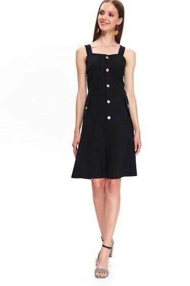Fekete Top Secret casual pamutból készült a-vonalú ruha öv típusú kiegészítővel