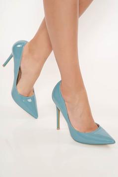 Kék elegáns műbőr stiletto magassarkú cipő enyhén hegyes orral