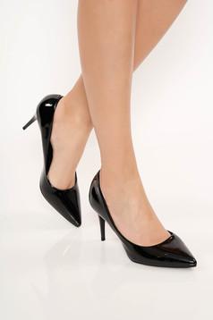 Fekete lakkozott öko bőr elegáns cipő enyhén hegyes orral