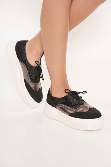Fekete fűzővel köthető casual sport cipő műbőrből