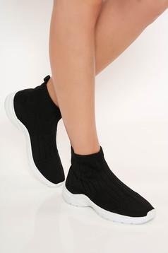 Fekete sport cipő lapos talpú casual gumi járótalp