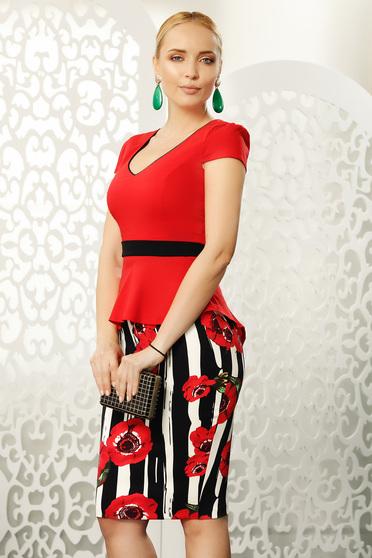 Piros Fofy női ing irodai szűk szabás enyhén elasztikus pamut gomb kiegészítőkkel