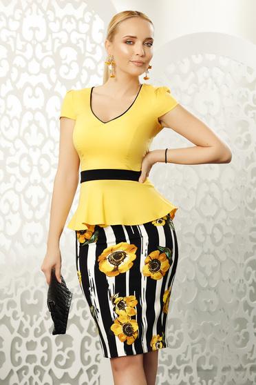 Sárga Fofy női ing irodai szűk szabás enyhén elasztikus pamut gomb kiegészítőkkel
