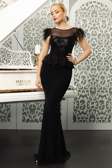 Fekete Fofy ruha alkalmi szirén tipusú flitteres díszítés övvel ellátva