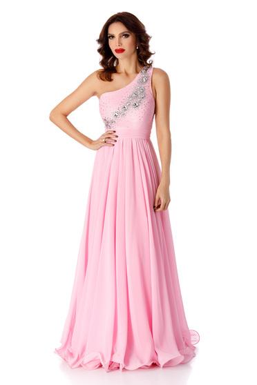 Rózsaszínű alkalmi hosszú harang ruha strassz köves díszítéssel muszlinból
