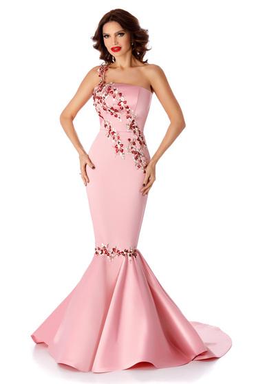 Pink szirén tipusú ujjatlan alkalmi ruha csipke díszítéssel