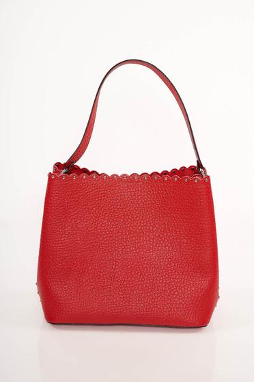 Piros irodai bőr táska szegecsekkel