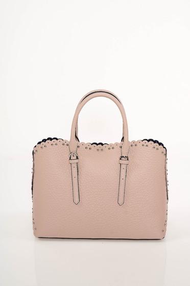Világos rózsaszín irodai táska fémes szegecsekkel rövid fülekkel