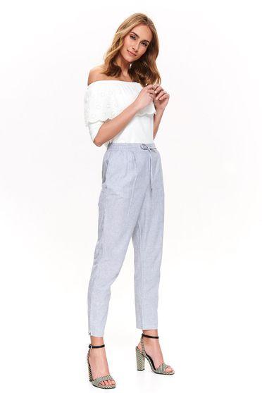 Kék Top Secret casual kónikus nadrág pamutból készült benyúlós zsebekkel