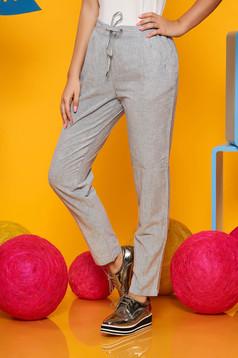 Kék csíkos Top Secret casual kónikus nadrág pamutból készült benyúlós zsebekkel