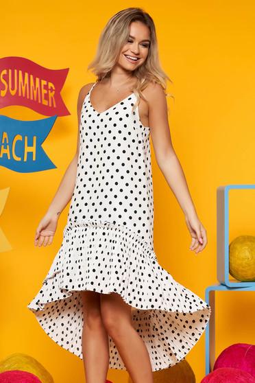 e67f067f90 Fehér Top Secret hétköznapi aszimetrikus bő szabású ruha vékony anyag  pöttyökkel