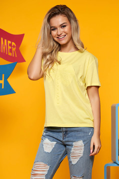 Sárga Top Secret casual bő szabású pamutból készült póló rövid ujjakkal