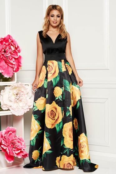 Fekete PrettyGirl alkalmi harang ruha szatén anyagból virágmintás díszítéssel övvel ellátva