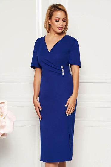 Kék elegáns hétköznapi midi ruha karcsusított szabás dekoltált finom tapintású anyag