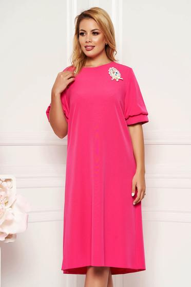 6dfd473caa Pink elegáns bő szabású ruha rövid ujjakkal bélés nélkül bross kiegészítővel