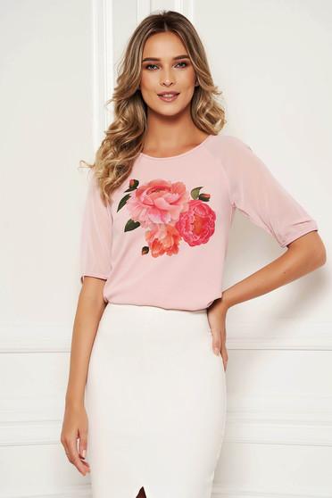 Világos rózsaszín StarShinerS elegáns virágmintás női blúz muszlin háromnegyedes ujjakkal rugalmas anyagból