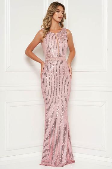 Rózsaszínű szirén tipusú flitter ujj nélküli hosszú ruha csipkés és flitteres díszítés