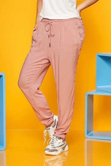 Rózsaszínű nadrág zsinórral zsebekkel szellős lenge anyagból