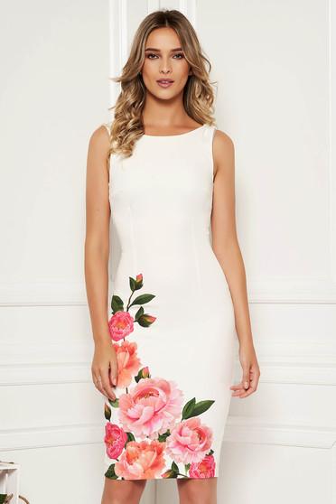 Fehér StarShinerS elegáns hétköznapi midi virágmintás ceruza ruha kivágott hátrésszel