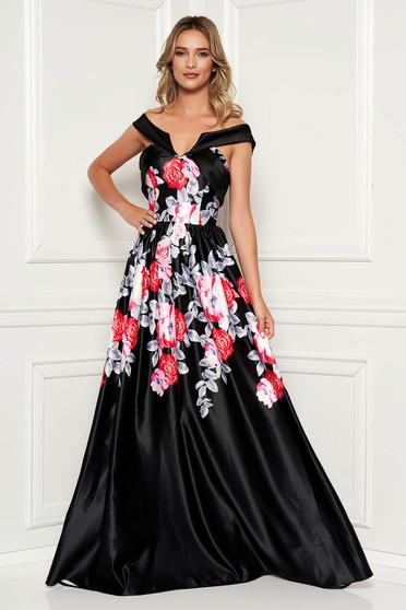 22ad39584b Fekete hosszú estélyi ruha mély dekoltázzsal virágmintás díszítéssel