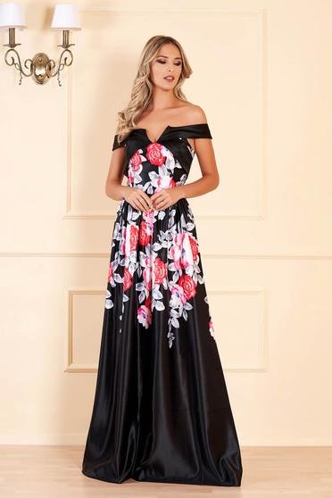 Fekete hosszú estélyi ruha mély dekoltázzsal és virágmintás díszítéssel