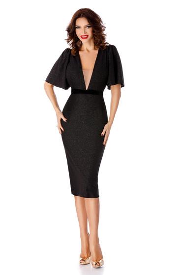 Fekete elegáns midi ruha szűk szabás dekoltált